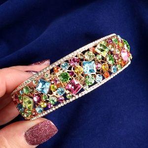 Bangle Bracelet Pastel Swarovski Crystal Rose Gold